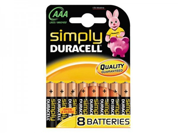 Batterie Duracell Simply MN2400/LR03 Micro AAA (8 St.)
