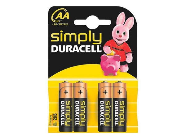 Batterie Duracell Simply MN1500/LR6 Mignon AA (4 St.)