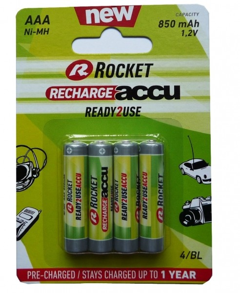 Rocket Recharge Accu AAA Micro 850 mAh Blister 4 Ready 2 Use