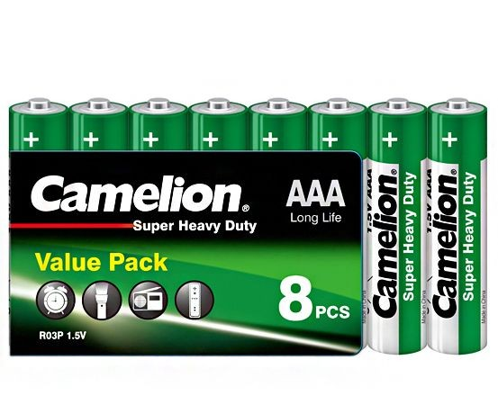 Camelion Zink Kohle - Super Heavy Duty R03, Micro AAA Batterien 8er Packung