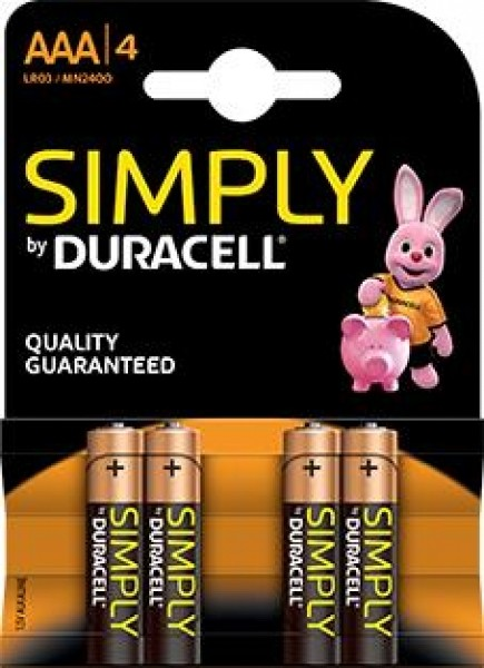 DURACELL Simply MN2400 LR03 AAA Micro 4er Blister
